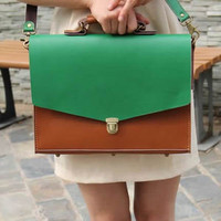 """Elite Leather Bags — Handmade Genuine Leather Briefcase 14"""" Laptop 13"""" MacBook Case / Bag - Brown with Green"""