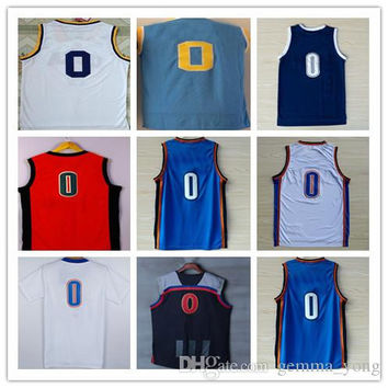 2017 Discount Russell Westbrook 0 Jerseys Shirts Stitched White Orange Blue UCLA Westbrook College Uniforms Cheap