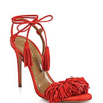 Aquazzura - Wild Things Tasseled Suede Fringe Sandals - Saks Fifth Avenue Mobile