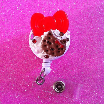 Choco Hello Kitty x Red HK Bow ID Badge Clip by JMxSweets on Etsy