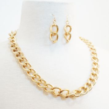Gold Chain Link Necklace & Earrings Set