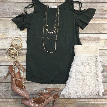 Sign on the X Cold Shoulder Top: Olive