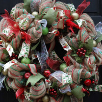 Christmas Holly Berry Deco Mesh Wreath