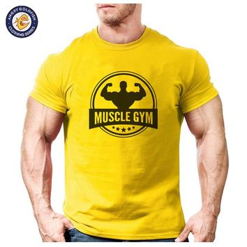 Muscle Fitness cotton tops men short sleeve boy casual t shirt