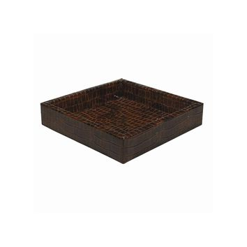Brown Faux Leather Croc Texture Valet Tray - Perfect Gift