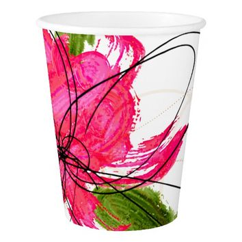 Blush Pink Olive Painted Daisy Paper Cup