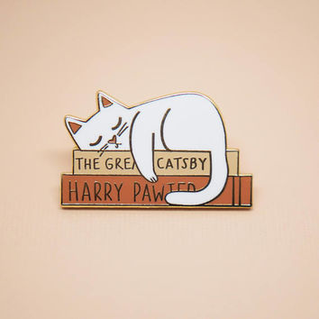 Tiny Literary Kitty Enamel Pin // Hard Enamel - Enamel Pin - Pin - Lapel Pin - Flair - Brooch - Collar Pin - Hat Pin - By Justine Gilbuena