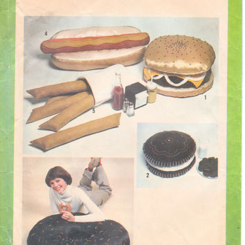 Soft Sculpture Junk Food Pillows: Hamburger, Hot Dog, French Fries, Donut, Cookie Vintage 1970s Pattern, Simplicity 8643, Free US Shipping
