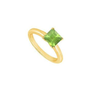 Peridot Ring : 14K Yellow Gold - 0.75 CT TGW