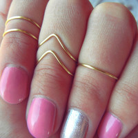 Gold Wire Adjustable Above Knuckle Chevron Ring Set