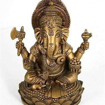 Ganesh Removes Obstacles Statue Bronze Finish 7H