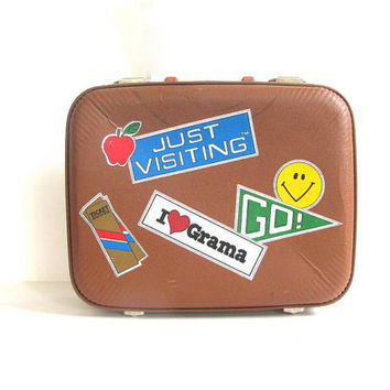 Going to Grandma's Luggage / Just Visiting brown Vintage Suitcase