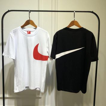nike unisex sport casual big logo print short sleeve couple t shirt top tee