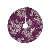 """Suzie Tremel """"Squiggly Floral"""" Pink White Tree Skirt"""
