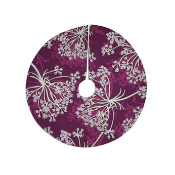"Suzie Tremel ""Squiggly Floral"" Pink White Tree Skirt"
