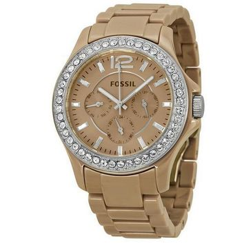 FOSSIL Riley GMT Antique Pearl Ceramic Ladies Watch