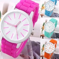 Demarkt Candy Color Silicone Quartz Watch Boys Girls Students Rhinestone Wristwatches