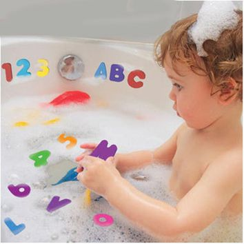 36Pcs Alphanumeric Letters Bath Puzzle EVA Kids Baby Toy Early Educational Toy Baby Bath Toy