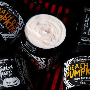 8 oz Death By Pumpkin Body Butter | Spiced Autumn Pumpkin | Gothic body butter | Lotion | Halloween | Body Butter | Pumpkin | Horror