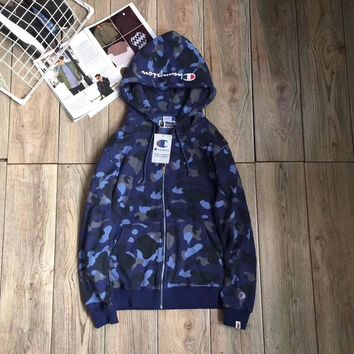 AAPE x Champion Woman Men Camouflage Hoodie Top Sweater