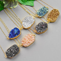 Gold Druzy Necklace - Your Choice of Color Druzy Pendant Necklace - Bezel Druzy Necklace - Trendy Jewelry - Druzy Jewelry
