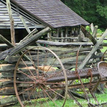 Rustic Old Barn with Pole Fence and Antique Machinery - 8x10 Photograph