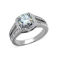 Halo - 1.28 CT. Equivalent High Polished Stainless Steel Engagement Ring