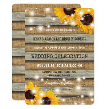 Rustic Country Sunflower Wedding | Burlap Wood Card