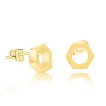 Simple Small Hex Nut Earrings For Unique Personality Biker Jewelry Stainless Steel Geometry Hexagon Machine Tool Studs Bff