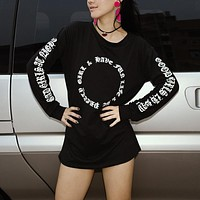 Women Personality Gothic Letter Print Long Sleeve Medium Long Section Sweater Tops