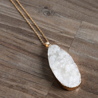 Off White Long Druzy Necklace
