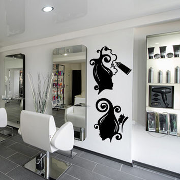 Wall decal decor decals art hair salon beauty hairstyle hairdresser spra com brush laying girl curl (m954)