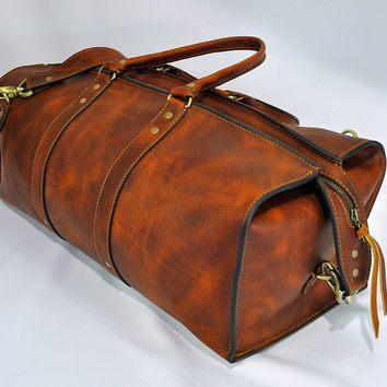 1920 Overnight Duffel Bag (Tobacco Snakebite Leather)