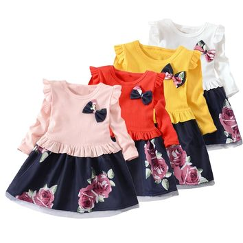 MUQGEW Baby Girls Dress  Long Sleeve Floral Flower Print Dresses kids clothes children's clothing for girls toddler girl dresses