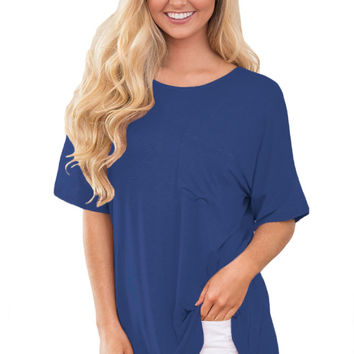 Blue Chic Relaxing Fit Pocket Front Hollow-Out Blouse MAVERLLY