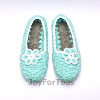 Crocheted house slippers Crochet Slippers Custom Order Light Blue Slippers for the home Woman