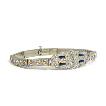 Sparkling Sterling Silver Art Deco Bracelet with Blue Sapphire and Diamond Paste Stones