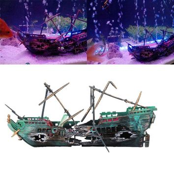 Fish Tank Aquarium Artificial Plants Coral Ornament Decoration Aquarium Ship Air Pump Connection Split Shipwreck Sunk Wreck Boat