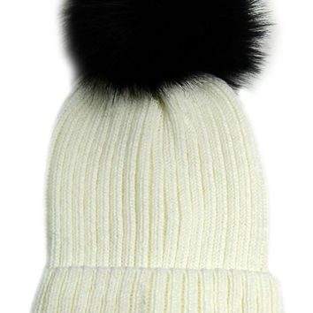 Large Fur Pom Pom Slouchie Knit Beanie Hat - Cream/Black