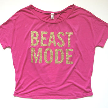 SALE - LARGE - BEAST MODE T-SHIRT - Ruffles with Love - Womens Fitness - Workout Clothing - Workout Shirts with Sayings