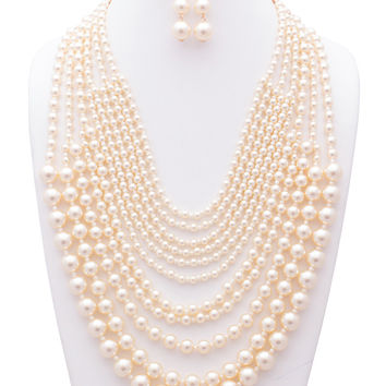 Elizabeth Multi-Sized Simulated Pearl Statement Necklace and Earring Set