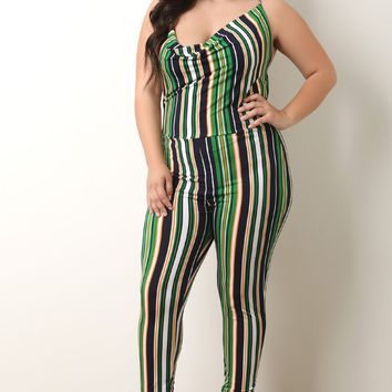 Striped Draped Neckline Sleeveless Jumpsuit