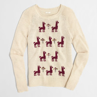 Factory embellished intarsia llama sweater : Sweaters | J.Crew Factory