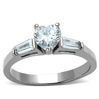 Stainless Steel Heart-Cut CZ Engagement/ Promise Ring