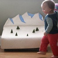 Summer Sale.   Snow Mountain Wool Felt Toy Box by WOOLi
