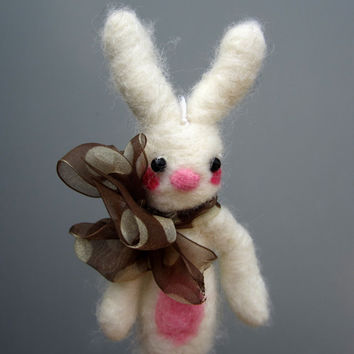 White bunny felted ornament rabbit kawaii plushie
