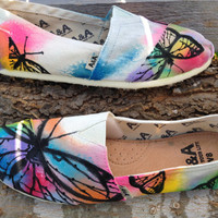 Hand-Painted Butterfly Shoes- Summer colors