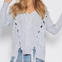 Straps V-neck Pure Color Straps Long Sleeves Regular Sweater