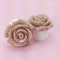 "SALE (20% OFF!) Buy 2 Pairs/get 3rd FREE! Large Soft Brown Flower Rose Plugs/Gauges 3/4"" 7/8"" 1"" 1 1/16"" 1 1/8"""