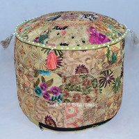 Green Bohemian Vintage Patchwork Round Indian Pouf Ottoman on RoyalFurnish.com